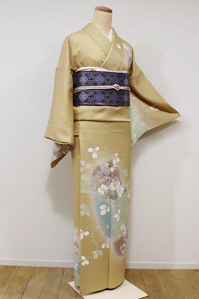 銀座【B-1971】訪問着 淡い芥子色 四季花の図