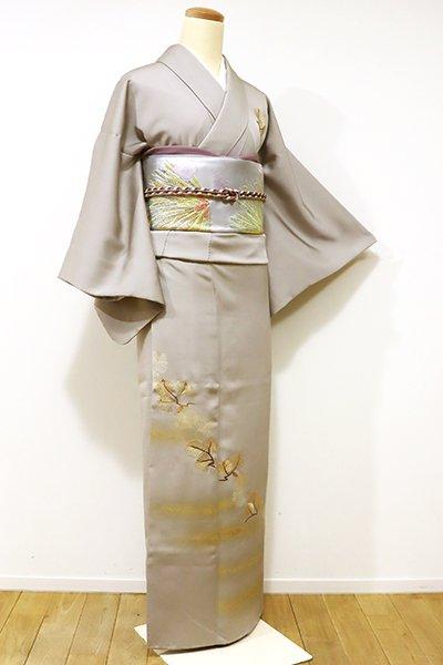 銀座【B-1973】染一ッ紋 付下げ 絹鼠色 霞に松の図