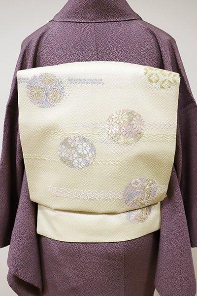 銀座【K-5505】織名古屋帯 鳥の子色 雪輪に花や唐草など