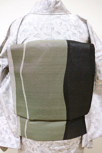 あおき【L-3979】洒落袋帯 鶸茶色×黒色 流線文