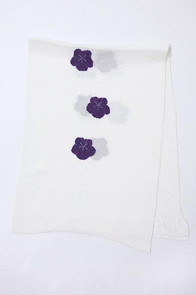 【G-1047-3】京都 衿秀製 縮緬地 帯揚げ 輪出し絞り 梅 深紫色(新品)
