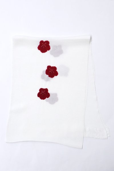 【G-1048】京都 衿秀製 縮緬地 帯揚げ 輪出し絞り 梅 赤銅色(新品)