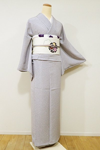 銀座【C-1458】江戸小紋 深い白梅鼠色 梅鉢(しつけ付・新品)