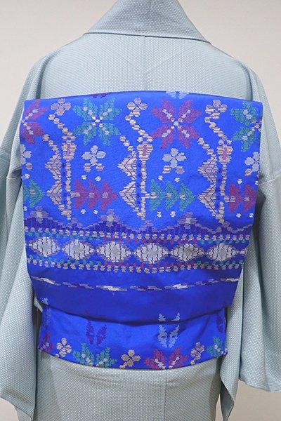 銀座【K-5507】西陣 帯屋捨松製 織名古屋帯 紺碧色 モール装飾文(落款入)