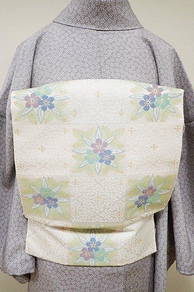 銀座【K-5512】西陣製 織名古屋帯 白色 市松に松竹梅(証紙付・新品)