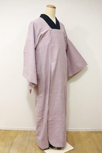 WEB限定【E-902】トールサイズ 紬地 単衣 和装コート 梅鼠色 横縞