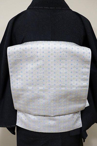 銀座【K-5515】本場筑前博多織 紋織 八寸名古屋帯 月白色 幾何文(証紙付・新品)