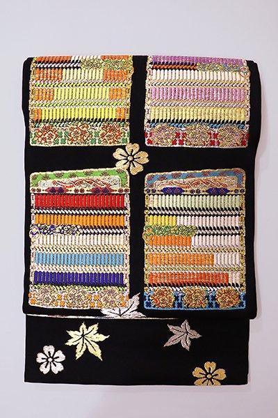 銀座【帯2771】龍村平蔵製 本袋帯 黒色「威毛錦」