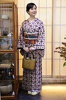 【着物2283】草紫堂製 南部絞紫根染 着物 (しつけ付)