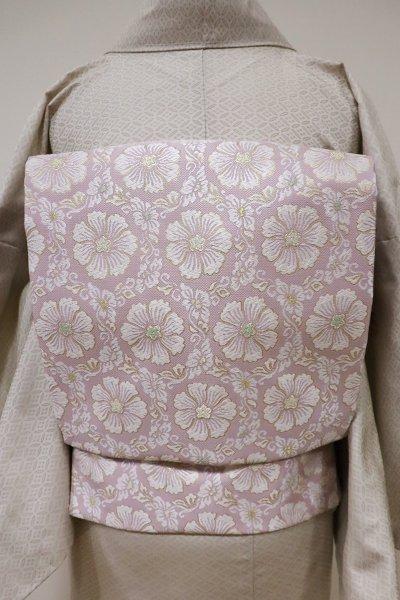 銀座【K-5519】西陣製 織名古屋帯 撫子色 亀甲花文(証紙付・新品)