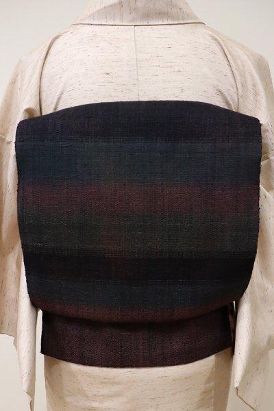 銀座【K-5523】紬地 織名古屋帯 黒色 多彩な横段