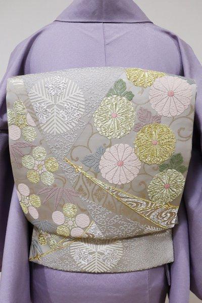 あおき【L-3992】袋帯 白鼠色 菊唐草や松の丸文