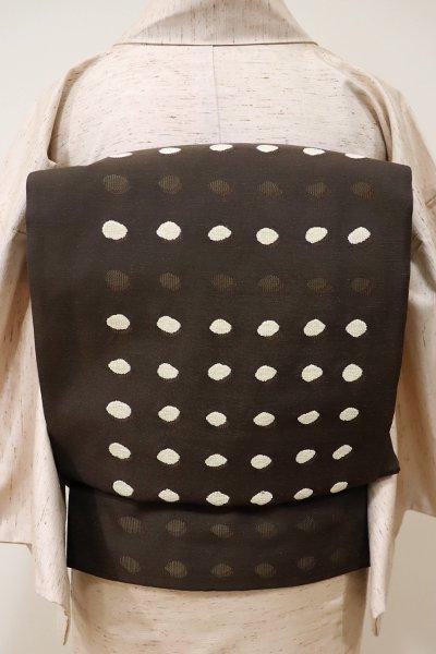 あおき【L-3993】紬地 モール織 洒落袋帯 赤墨色 ドットの抽象文