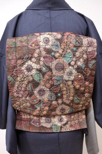あおき【L-3994】洒落袋帯 蘇芳香色 辻が花調文様