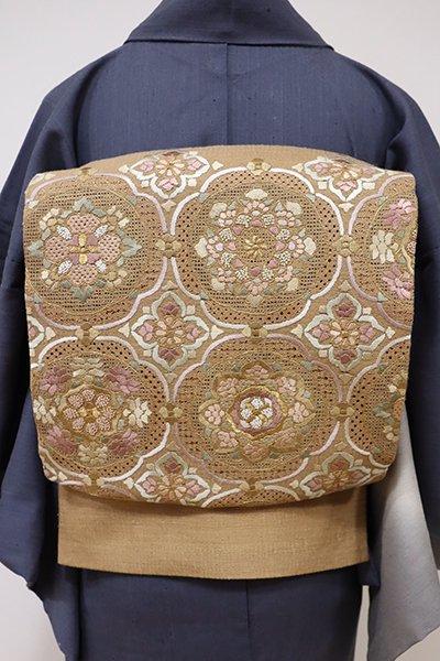 あおき【L-3995】紬地 スワトウ刺繍 洒落袋帯 狐色 華文
