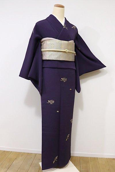 銀座【D-2029】縮緬地 小紋 深紫色 松の図