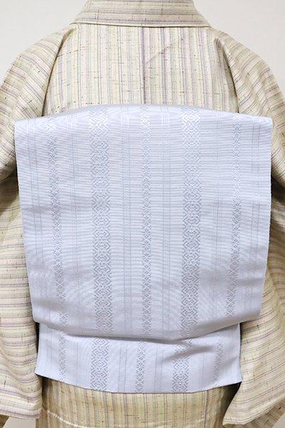銀座【K-5525】本場筑前博多織 八寸名古屋帯 月白色 献上柄(証紙付・新品)