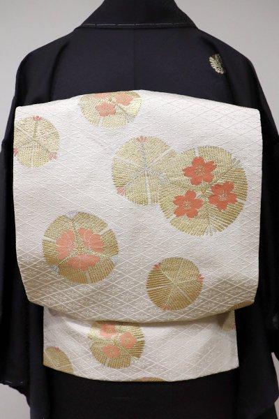 銀座【K-5527】織名古屋帯 象牙色 若松の丸に花の図