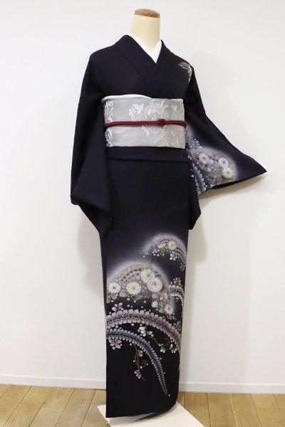 銀座【B-1977】付下げ 紫黒色 遠山に辻が花文