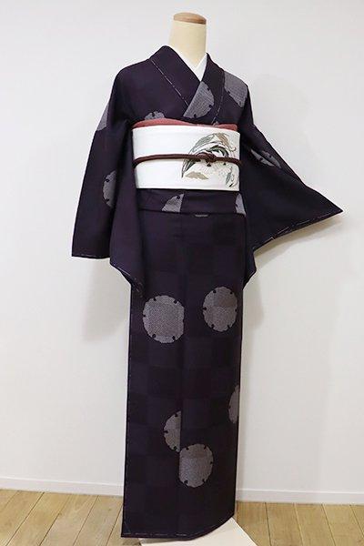 銀座【D-2031】小紋 似せ紫色 雪輪文(しつけ付)