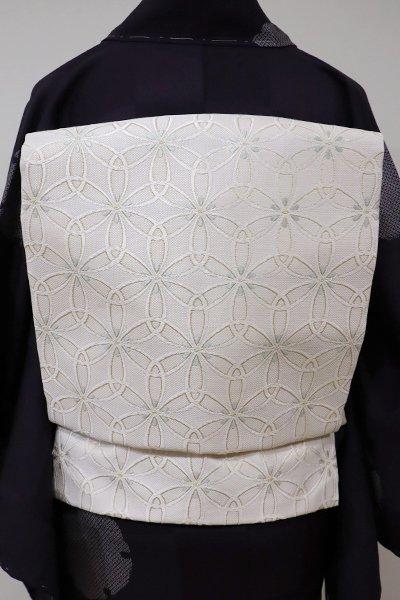 銀座【K-5530】西陣製 織名古屋帯 白練色 花七宝(証紙付・新品)