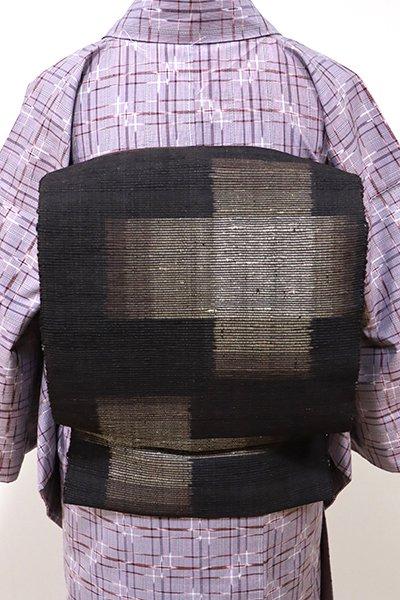 銀座【K-5531】紬地 織八寸名古屋帯 赤墨色 おおらかな十字絣