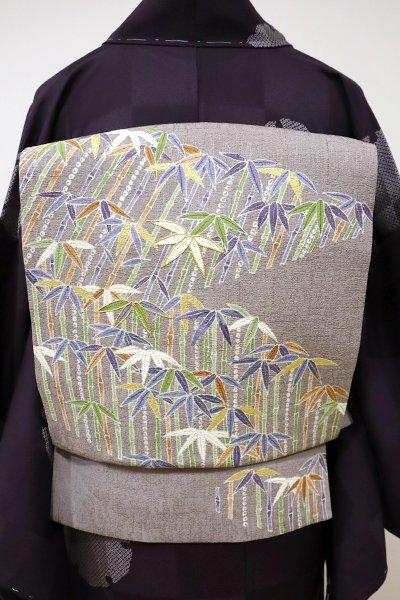 銀座【K-5532】染名古屋帯 深い潤色 笹竹の図
