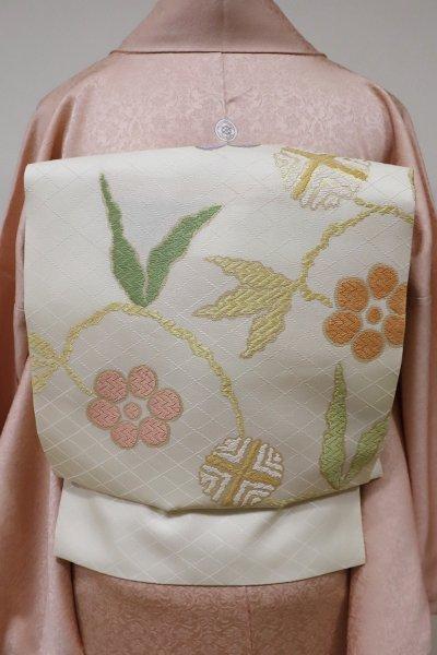 銀座【K-5533】西陣製 織名古屋帯 白練色 笹蔓文(証紙付)
