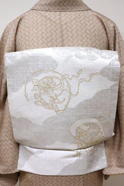 銀座【K-5536】織名古屋帯 白色 風神雷神図(未使用)