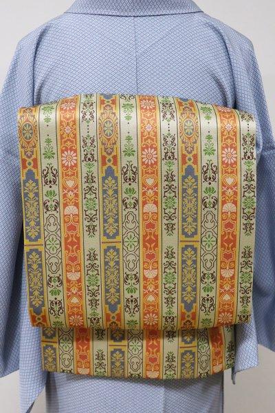 銀座【K-5539】西陣 龍村美術織物製 光波帯 砂色 ロワール飾花文 (証紙付・未使用)