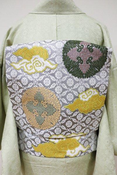 銀座【K-5540】織名古屋帯 白鼠色 有職文