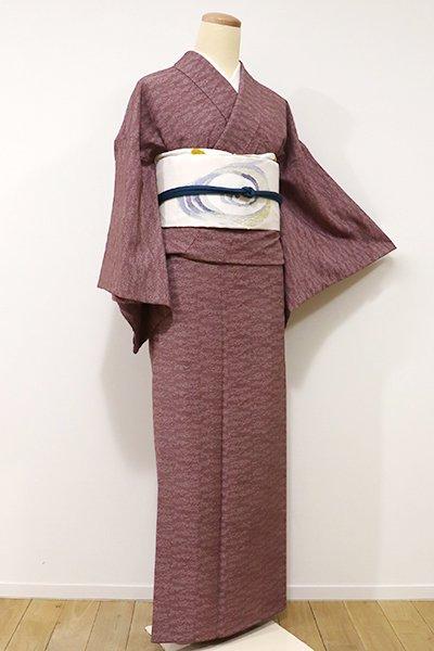 銀座【C-1467】↑Sサイズ↓きもの英製 江戸小紋 葡萄茶色 霞文