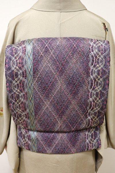 あおき【L-4011】組織り 袋帯 葡萄鼠色 竪縞に幾何文