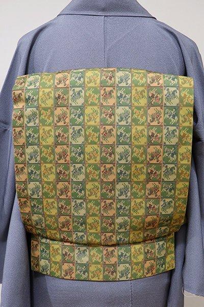 あおき【K-5550】龍村美術織物製 光波帯 鶯色系 王侯騎士文