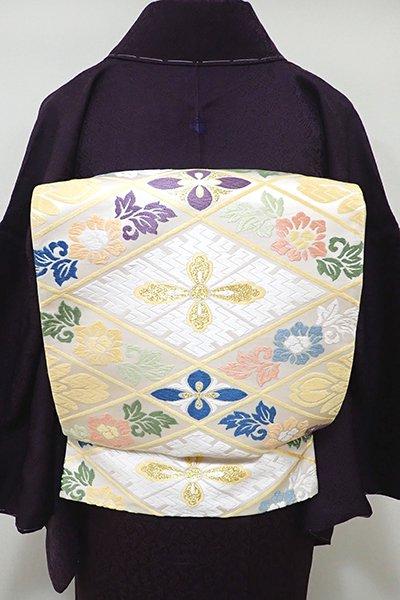 あおき【L-4021】西陣製 袋帯 白色 花菱文(証紙付)