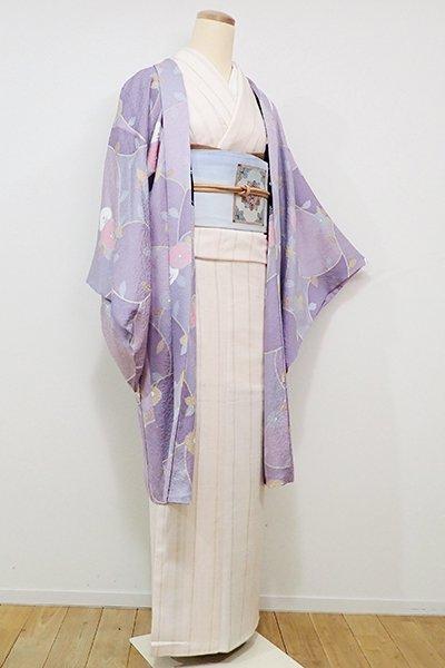 WEB限定【E-908】羽織 藤色 椿の図