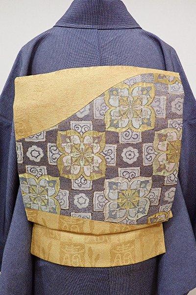 世田谷【K-5566】織地 切り嵌め 名古屋帯 金色 花の図
