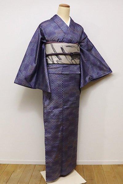 銀座【A-2589】トールサイズ 紬 藤納戸色 変わり市松文