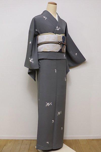 銀座【D-2039】←ユッタリ→小紋 素鼠色 桜の花枝