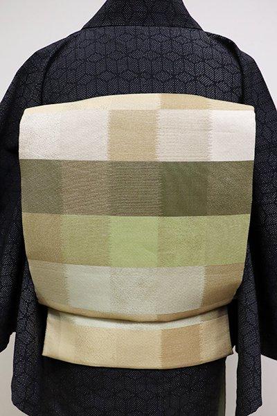 あおき【L-4051】袋帯 柳茶色×浅黄色系 多彩な市松文