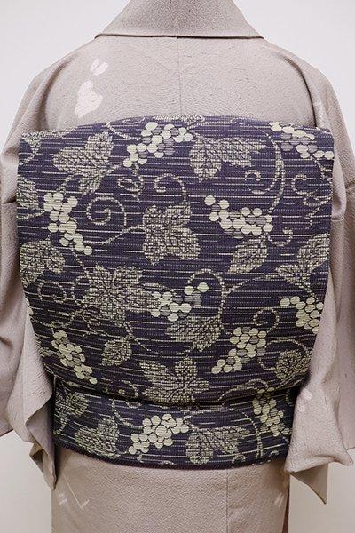 あおき【L-4074】洒落袋帯 紫鼠色 葡萄唐草文