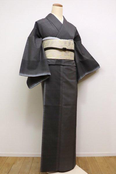 銀座【A-2599】紬 黒橡色系 太縞