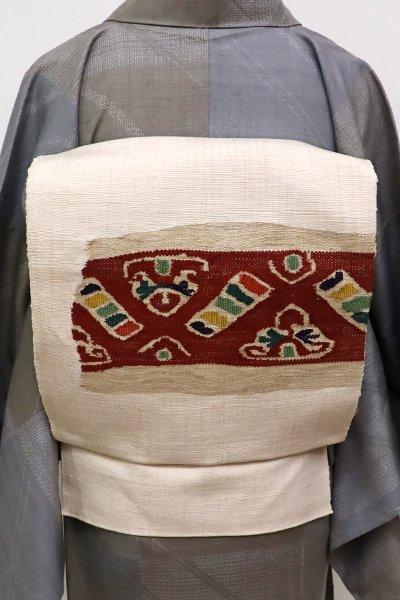 WEB限定【K-5607】紬地 織八寸名古屋帯 薄卵色 装飾文