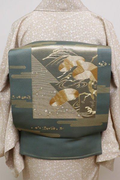 銀座【L-4078】刺繍 袋帯 青鈍色 霞に色紙の図