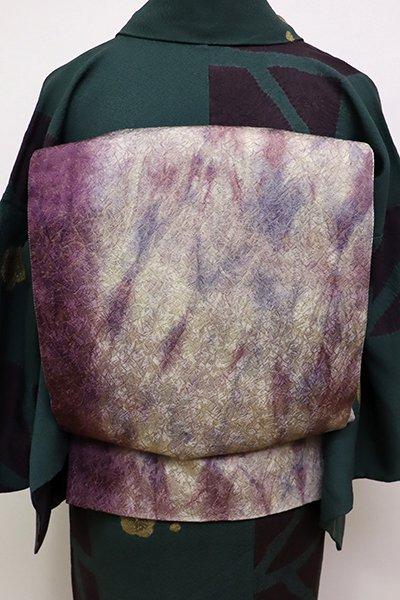 WEB限定【L-4082】洒落袋帯 滅紫色×白鼠色 抽象文