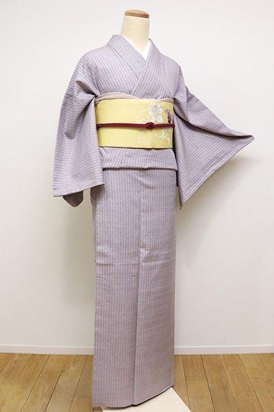 銀座【A-2602】トールサイズ 紬 白藤色 竪縞