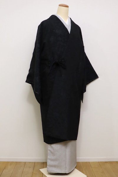 銀座【E-912】道中着 黒色 更紗花鳥文(新品)