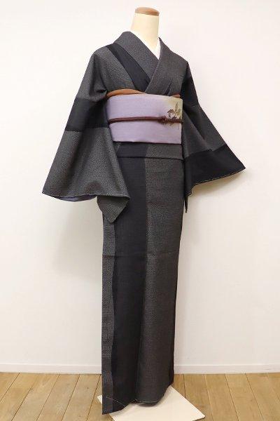 銀座【A-2608】←ユッタリ→本塩沢 黒色 よろけ縞