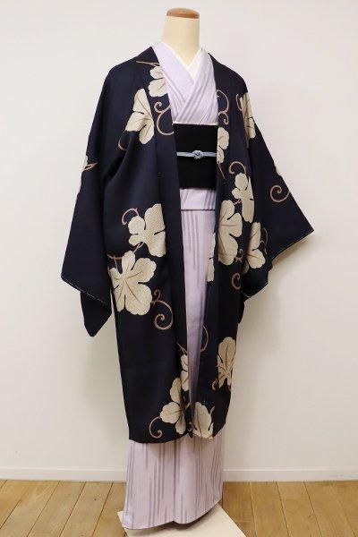 銀座【E-914】羽織 青褐色 唐草の図(しつけ付・新品)