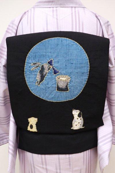 銀座【K-5621】紬地 絞り染め 名古屋帯 黒色 月を眺める図(長尺)